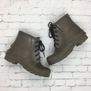 Hunter Original Lace Up Rain Boots Green Sz 6